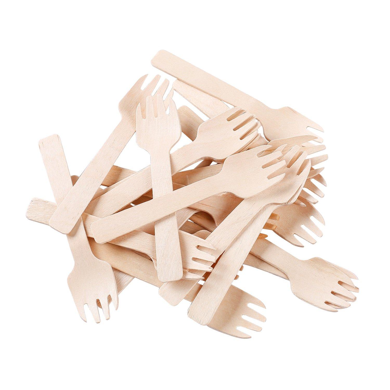 Gmark 4'' Mini Wooden Spork 200 ct, Biodegradable Compostable Birchwood Fork Spoon 2-in-1 Utensil (200pcs/bag) GM1058 by Gmark