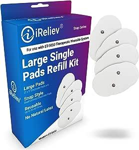 iReliev Kit de recarga de electrodos inalámbricos, 4 almohadillas por caja, se adapta a ET-5050 Wireless TENS EMS receptores Pods, Snap Style Electrodos: Amazon.es: Salud y cuidado personal