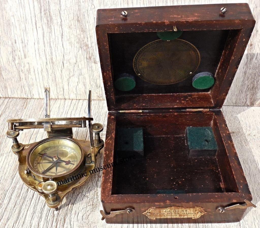 MARINE ART HANDICRAFTS Handmade Brass Box Sundial Compass with Wooden Box. C-3054 by MARINE ART HANDICRAFTS