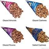 Cinnamon Glazed Roasted Almonds, Cashews, Pecans, and Lightly Salted Cashews in 4 Cone Pack