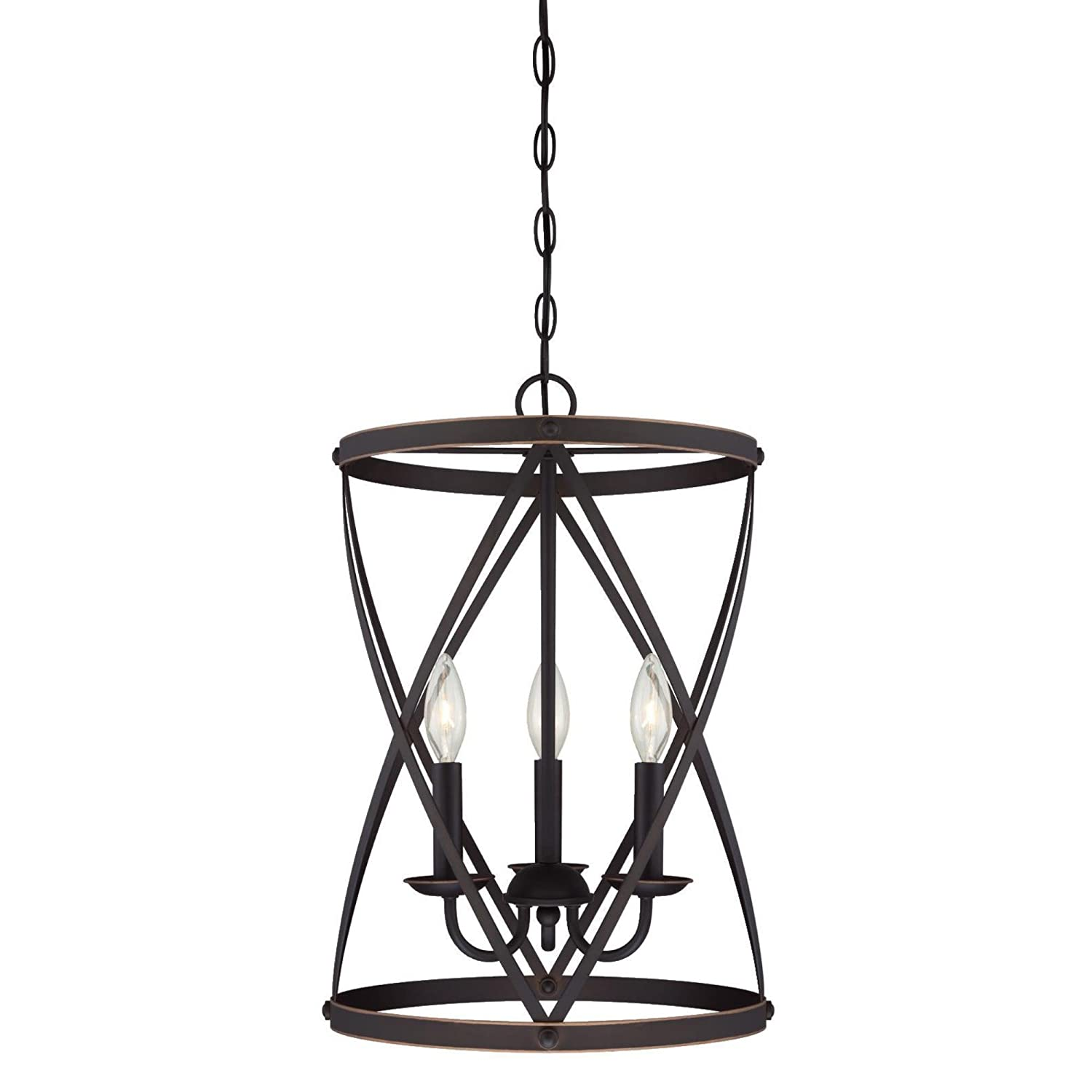 Westinghouse Lighting 6303700 Isadora Three-Light Indoor Chandelier, Oil Rubbed Bronze Finish with Highlights