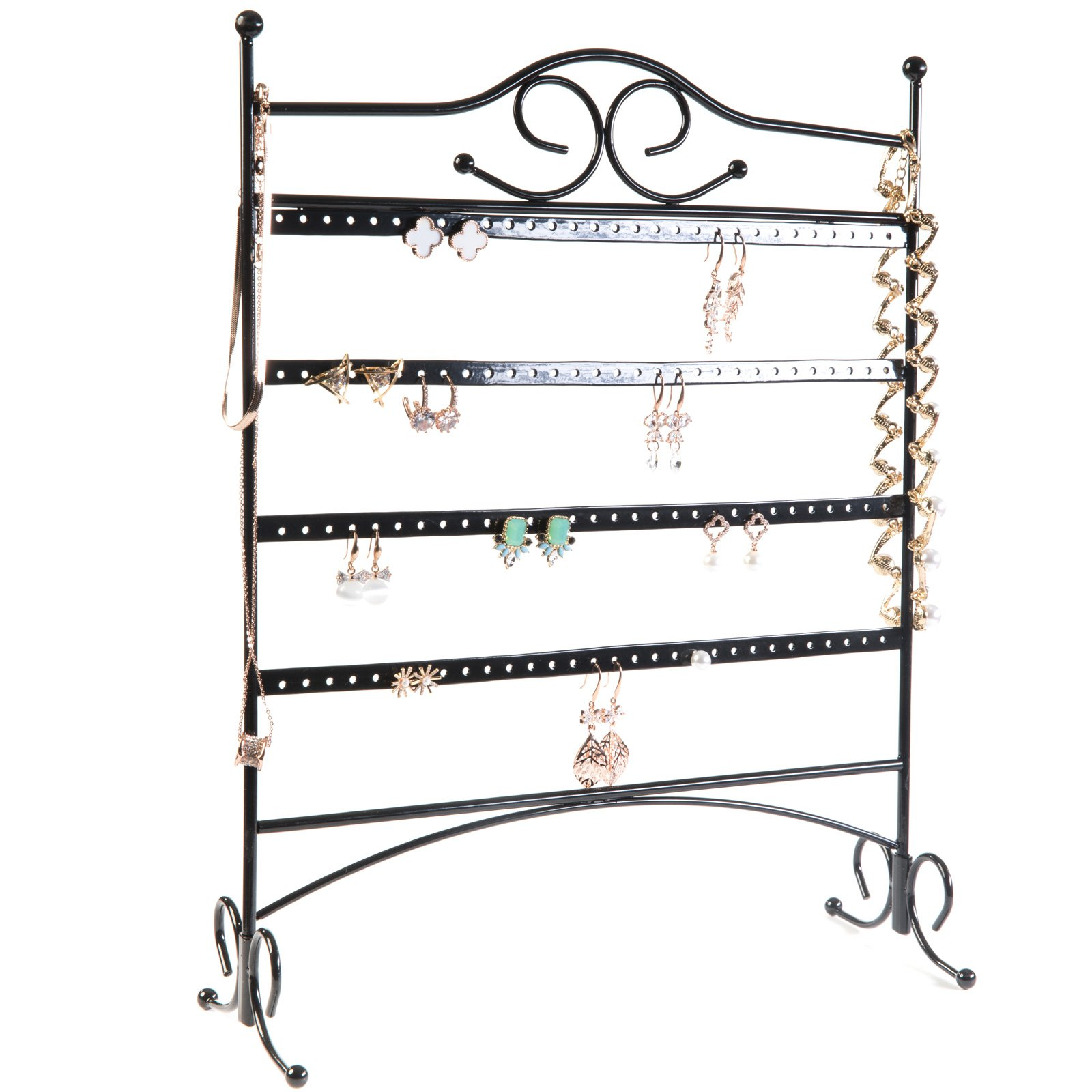 HUJI Black Jewelry Organizer Rack Earring Holder Necklace Bracelet Stand Display Storage (1, Steel Earrings Holder)
