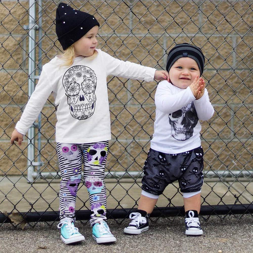 Jarsh Toddler Kids Baby Girl Skull Long Sleeve Tops+Stripes Pants Clothes Sets