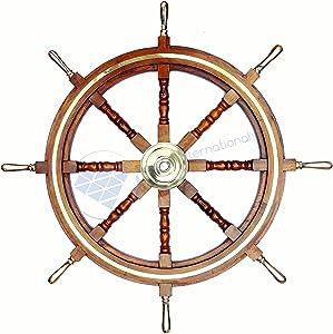 Nagina International Premium Wood Handcrafted Nautical Ship Wheel | Brass Handles & Ring | Pirate's Home Decor (18 Inches)