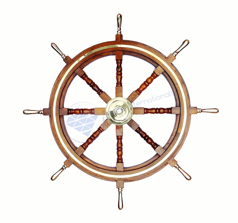 Premium Wood Handcrafted Nautical Ship Wheel | Brass Handles & Ring | Pirate's Home Decor | Nagina International (30 Inches)