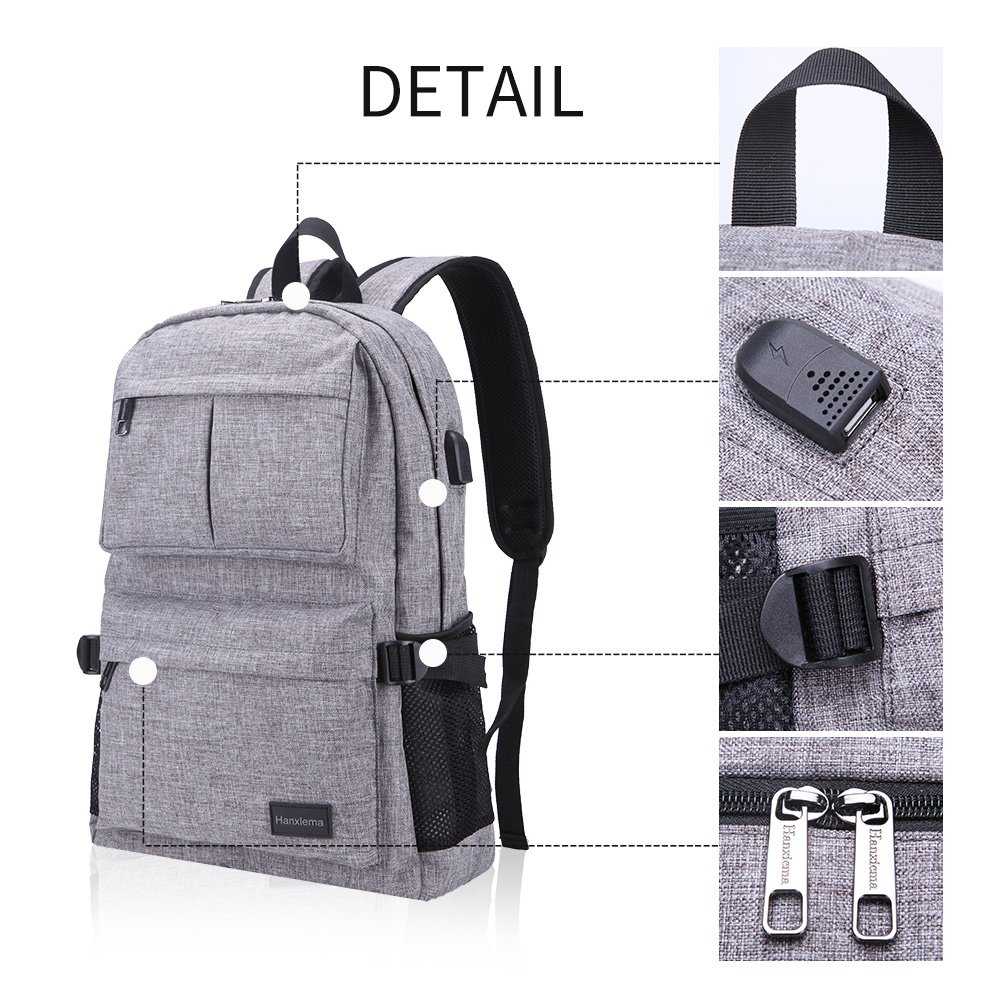 Hanxiema Travel Laptop Backpack Fit 15.6 Inch Laptop or Macbook Oxford Cloth with USB Charging Port Large Capacity School Computer Bag for Men Women (Grey HXm-02-1) by Hanxiema (Image #4)