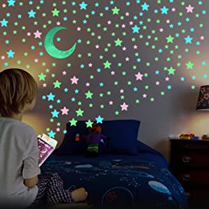 Glow in The Dark Stars for Ceiling - AirXwills 200 Pcs Stars for Ceiling with Ultra Brighter Glow Moons Wall Decor, Kids Room Decor for Girls and Boys, 3D Glow Stars and Moon for Starry Sky. (Mixed)