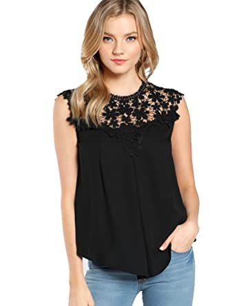 61448a23de67 Floerns Women s Lace Neckline Sleeveless Chiffon Blouse Top Black XS