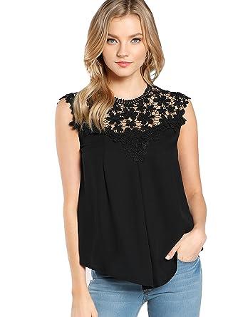 63f14605670094 Floerns Women's Lace Neckline Sleeveless Chiffon Blouse Top Black XS