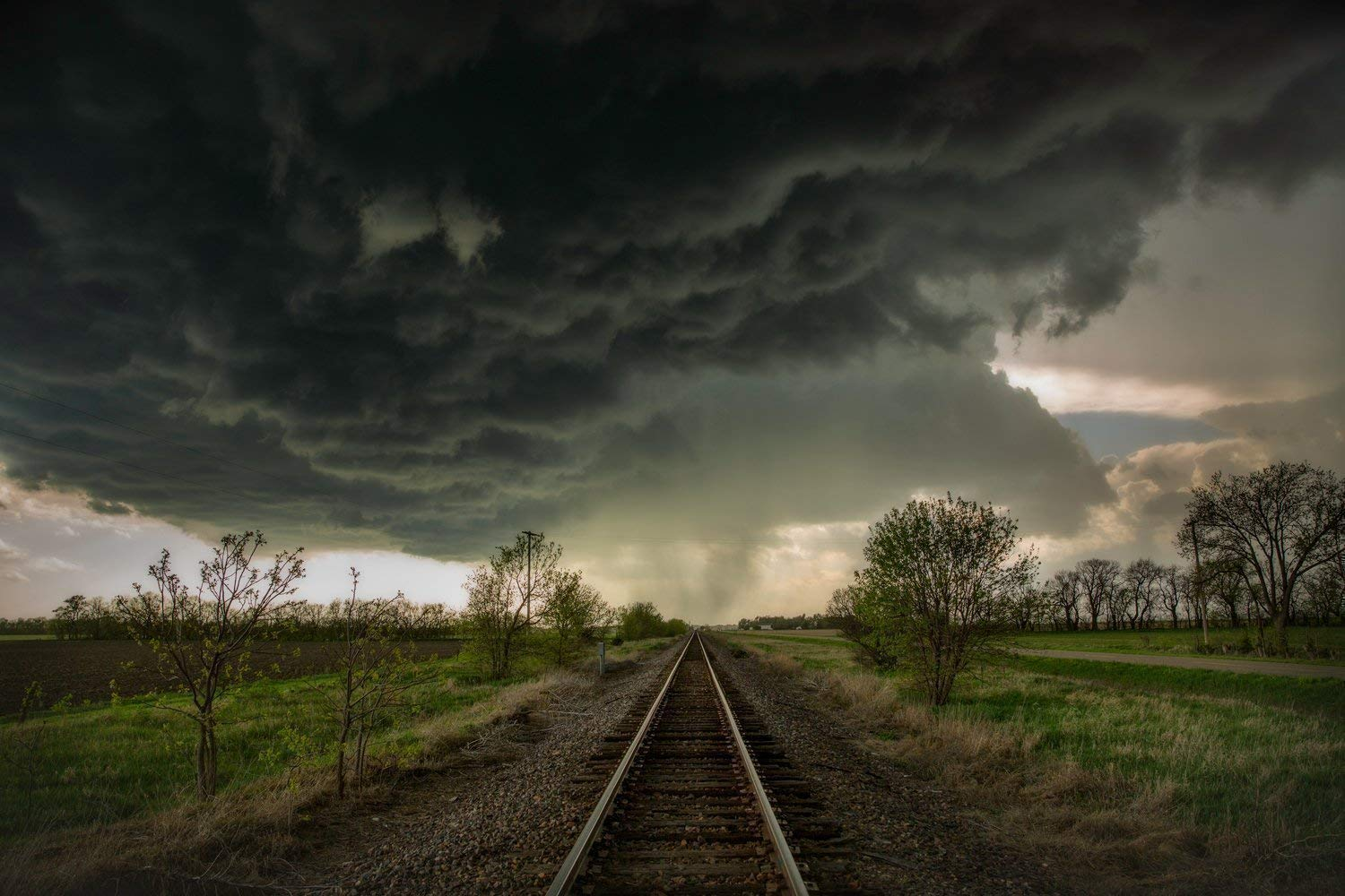 Train Track Photography Art Print - Picture of Tracks Leading Into Storm Clouds in Kansas Fine Art Decor Artwork for Home Decoration 5x7 to 30x45