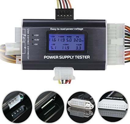 Optimal Shop 20//24 4//6//8 PIN 1.8 LCD Computer PC Power Supply Tester for SATA,IDE,HDD,ATX,ITX,BYI Connectors