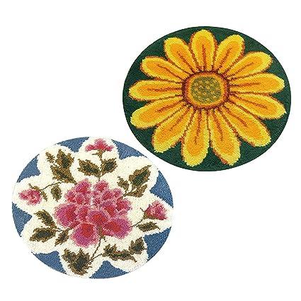 2 Sets Flowers Latch Hook Rug Kit DIY Carpet Craft Rug Making for Kids Adult Rug Making
