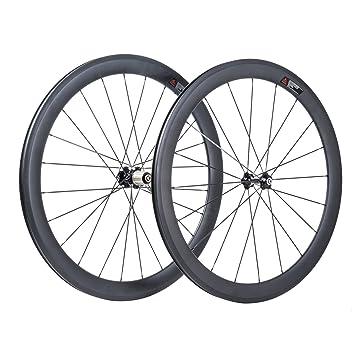 VCYCLE 50mm Fibra de Carbono Carretera Bicicleta Ruedas 700C Remachador 23mm Ancho Shimano o Sram 8/9/10/11 Velocidades: Amazon.es: Deportes y aire libre