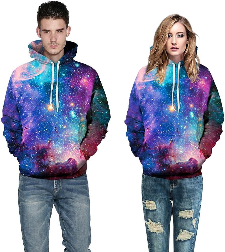 Plus Size Unisex 3D Digital Print Galaxy Pullover Hoodies Pockets Sweatshirt