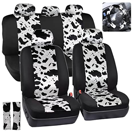 ComfySeats Velvet Animal Car Seat Covers Two Tone Cow Pattern Print On Black 9pc