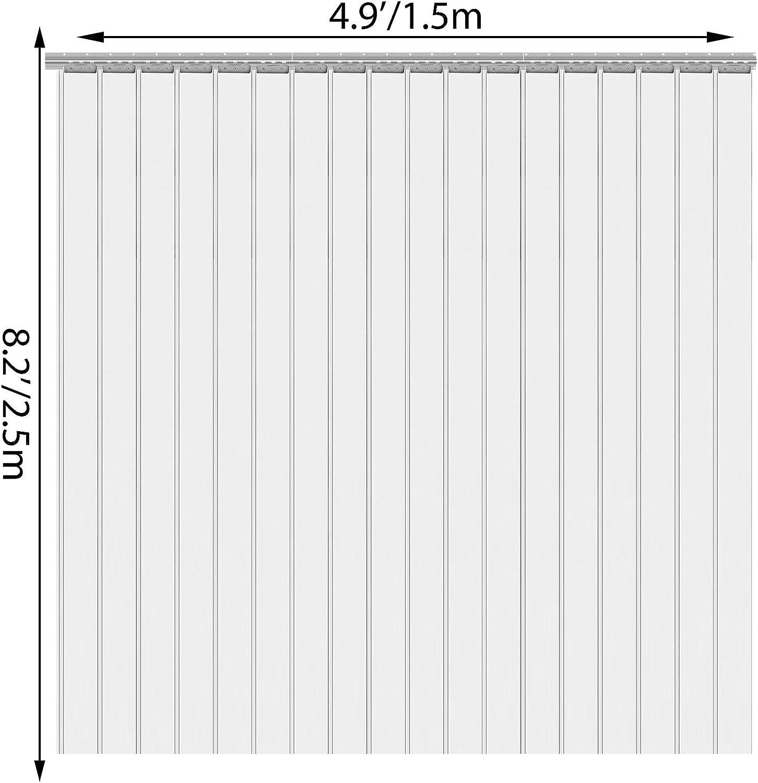VEVOR Rideau /à Lamelles en PVC 15PCS Lani/ères de Rideau de Porte 250x20x0,2cm Bandes de Rideau Industriel Transparent Anti-Mouches Anti-Chaleur pour Garages Usines Supermarch/és Centres Commerciaux