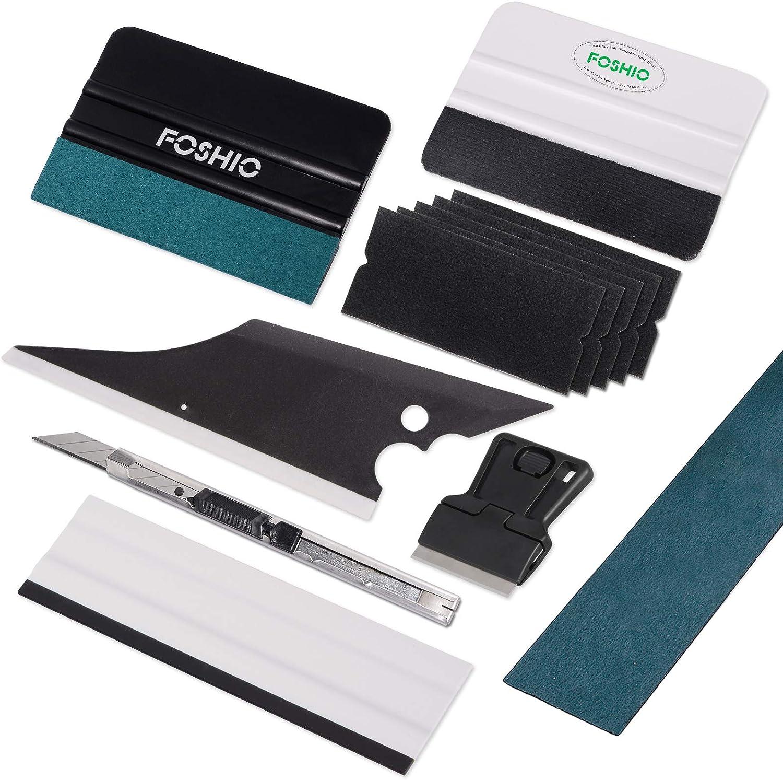 FOSHIO Kit de herramientas de vinilo 8 en 1 Profesional tinte de ventana incluyen Micro-Fibra y Tela Apretón de fieltro, con fieltro de repuesto, ...