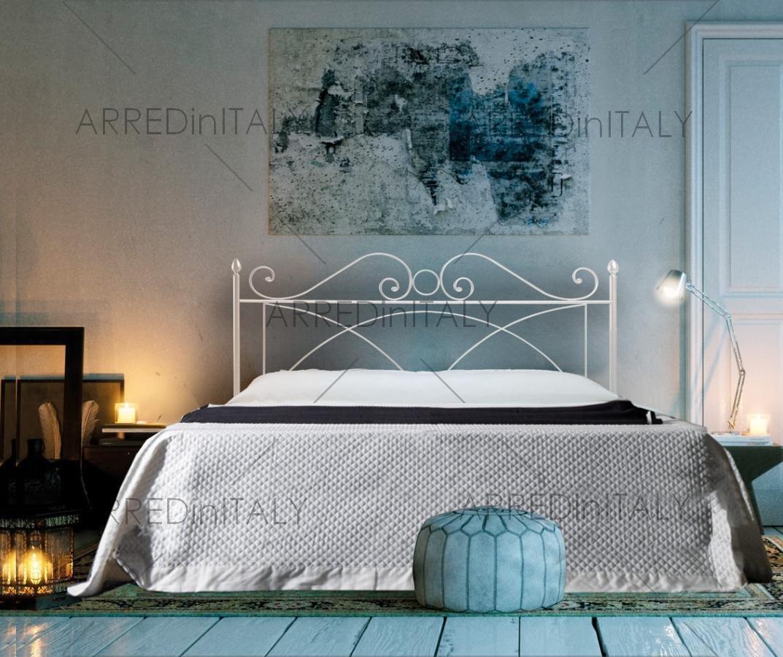 Non Inclusa Prodotto Made in Italy Letto Matrimoniale in Ferro Colore Bianco con GIROLETTO PREDISPOSTO per Rete con Piedini 160 X 190 CM