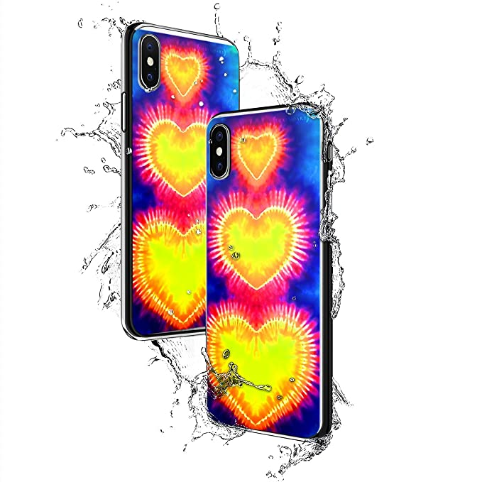 TIE DYE HEARTS | Luxendary Chrome Series designer case for iPhone X in Titanium Black trim