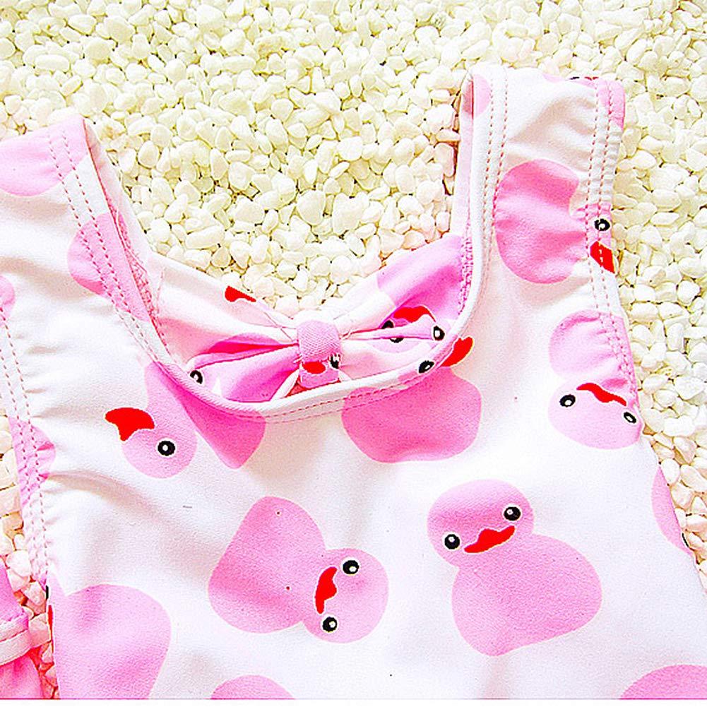 Swim Cap for Kids 3-13 Years Dear Tomorrow 2PCS One-Piece Baby Girls Swimsuit Duck Swimwear