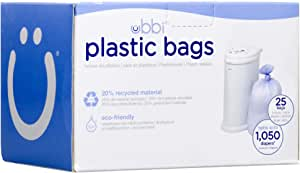 Ubbi Disposable Diaper Pail Plastic Bags, Made with Recyclable Material, Single Pack, 25 Count, 13-Gallon