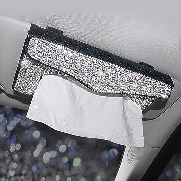 Car Sparkly Visor Tissue Box Holder for Car blanc Bling Bling Car Tissue Holder Crystal Sparkling Napkin Holder Paper Towel Cover Case Napkin Holder Car Seat Box Auto Accessories Sun Visor