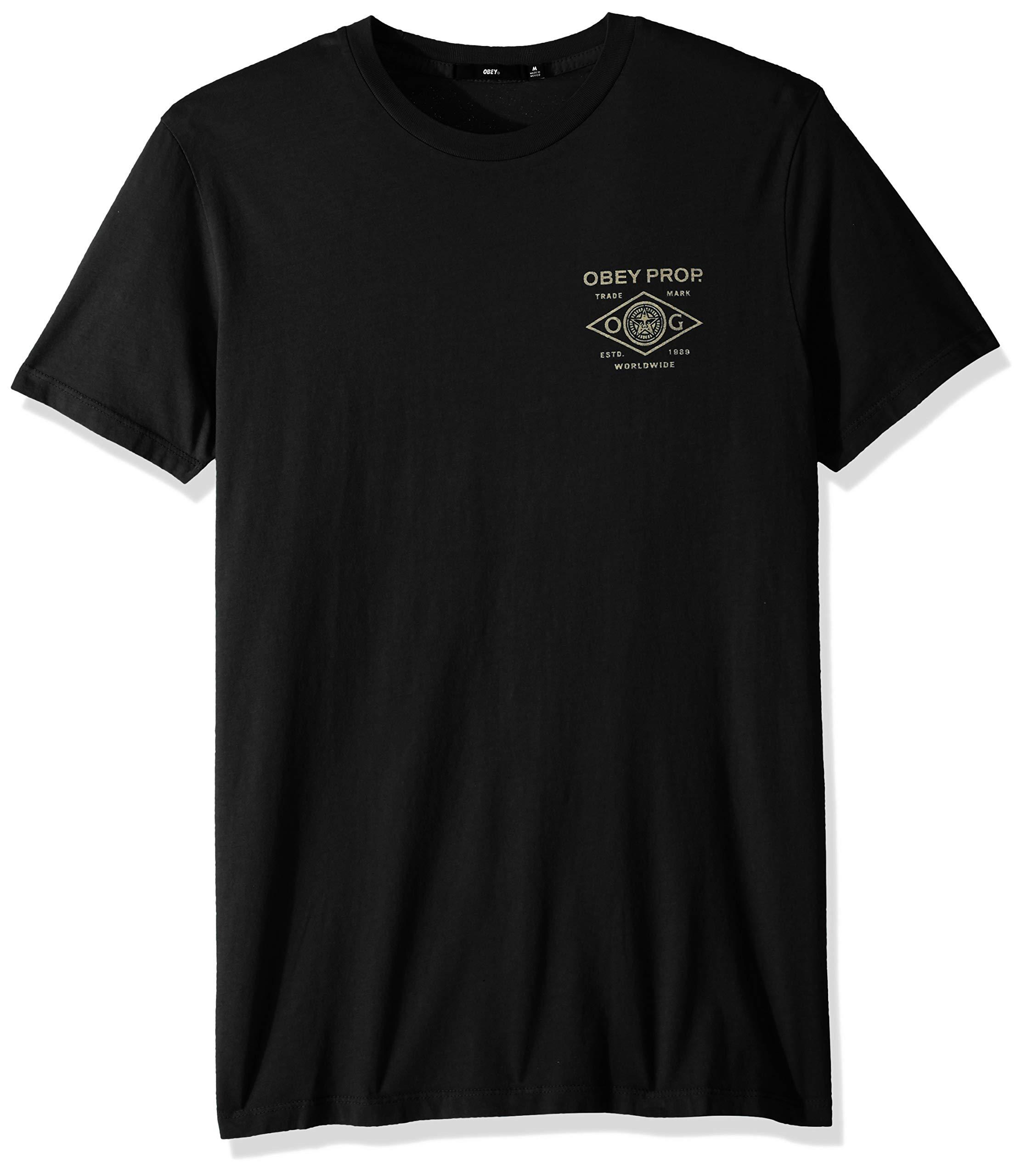 Obey Men's Prop. Trademark Short Sleeve Superior T-Shirt, Limo Black, Large