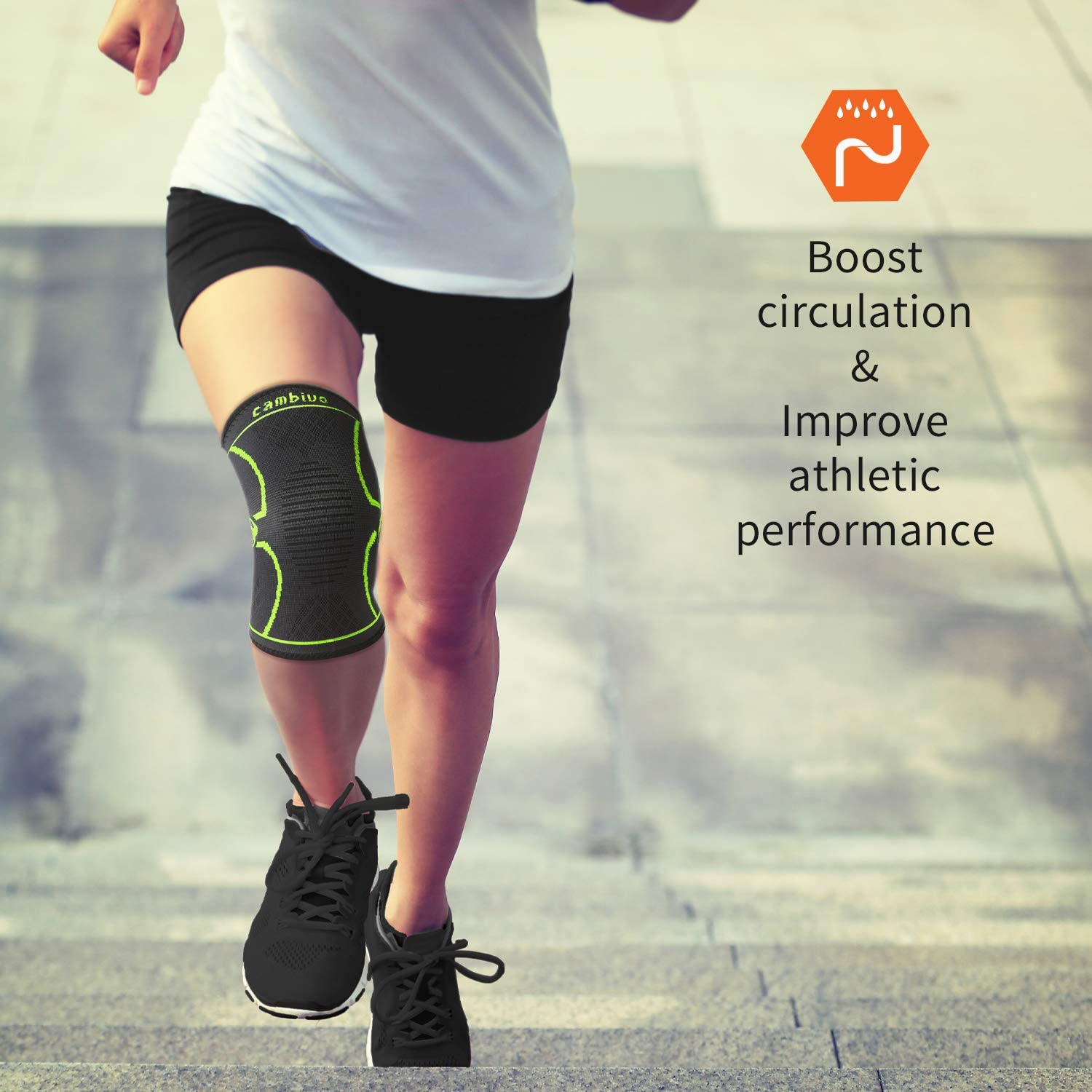 ACL Sports Meniscus Tear CAMBIVO 2 Pack Knee Brace Running Arthritis Knee Compression Sleeve Support for Men and Women Hiking