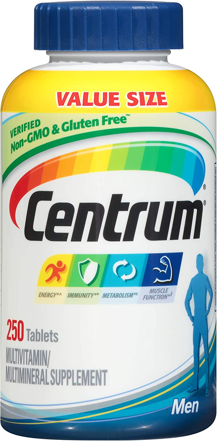 Centrum Multivitamin for Men, Multivitamin/Multimineral Supplement with Vitamin D3, B Vitamins and Antioxidants - 250 Count: Health & Personal Care