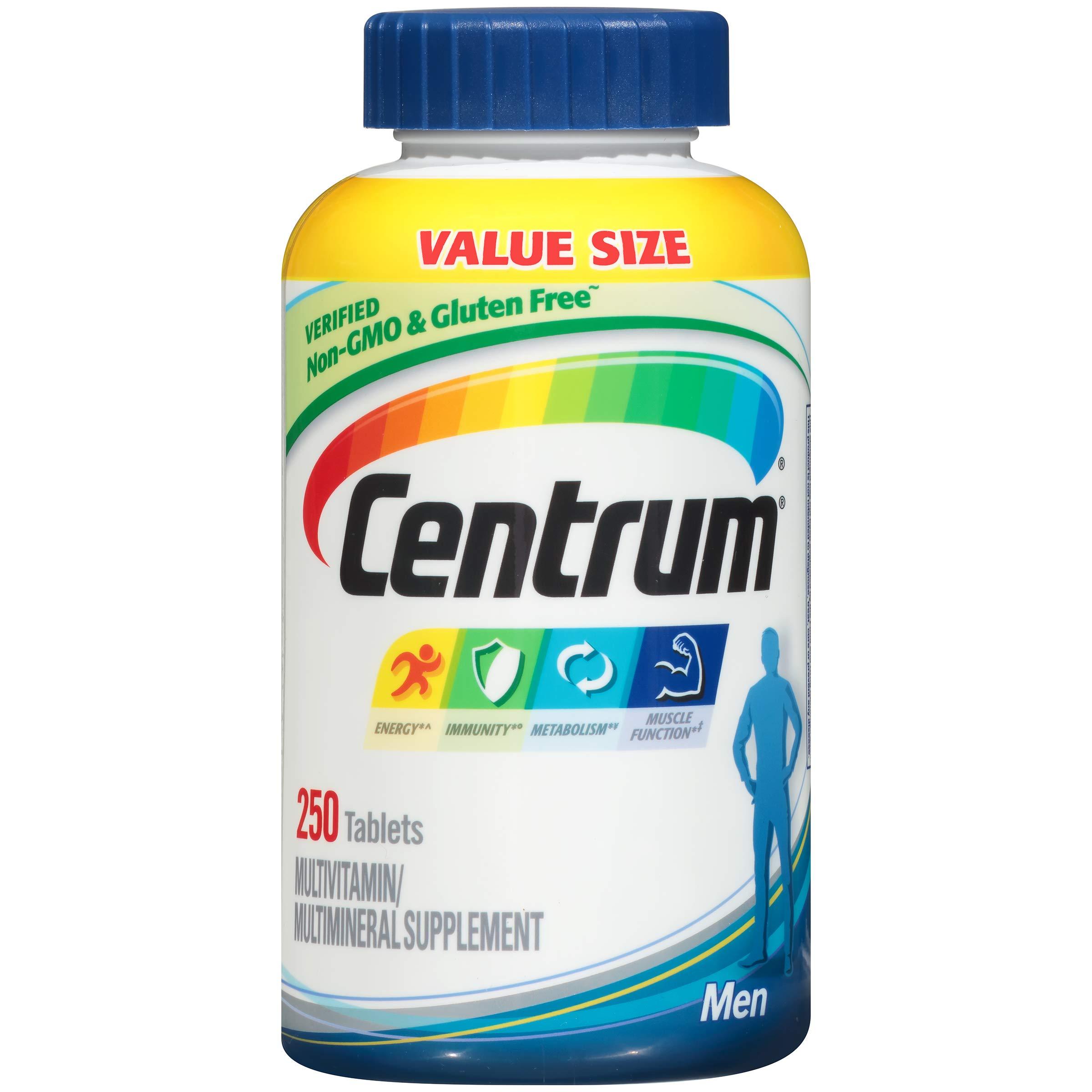Centrum Men (250 Count) Multivitamin / Multimineral Supplement Tablet, Vitamin D3 by Centrum