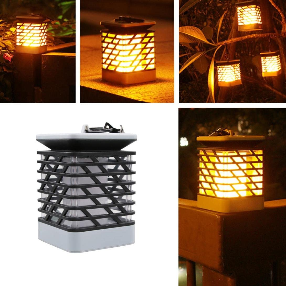 Kanzd Solar Flame Lawn Lamp LED Fire Light Realistic Waterproof Lamp Outdoor Garden Black