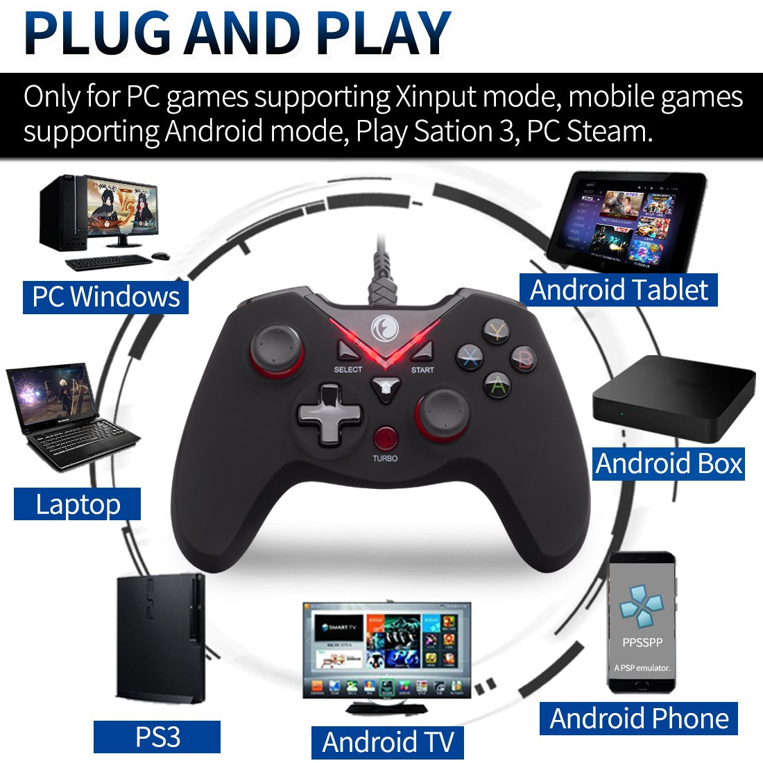 & Playstation 3 & Android & Steam Black&Blue V-one IFYOO ZD V-one