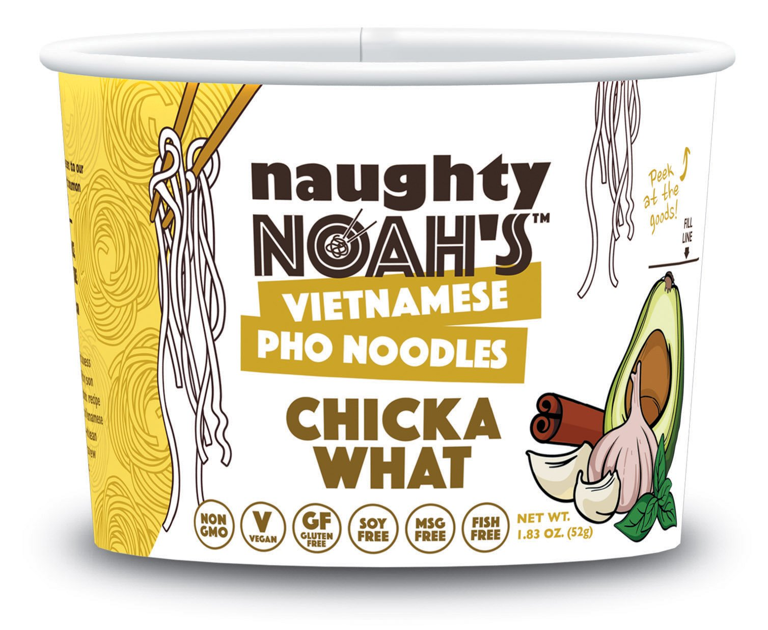 Naughty Noah's Vietnamese Pho Noodles   Chicka What Flavor (6-pack)   Vegan   Non-GMO   Noodle Bowl by Naughty Noah's Vietnamese