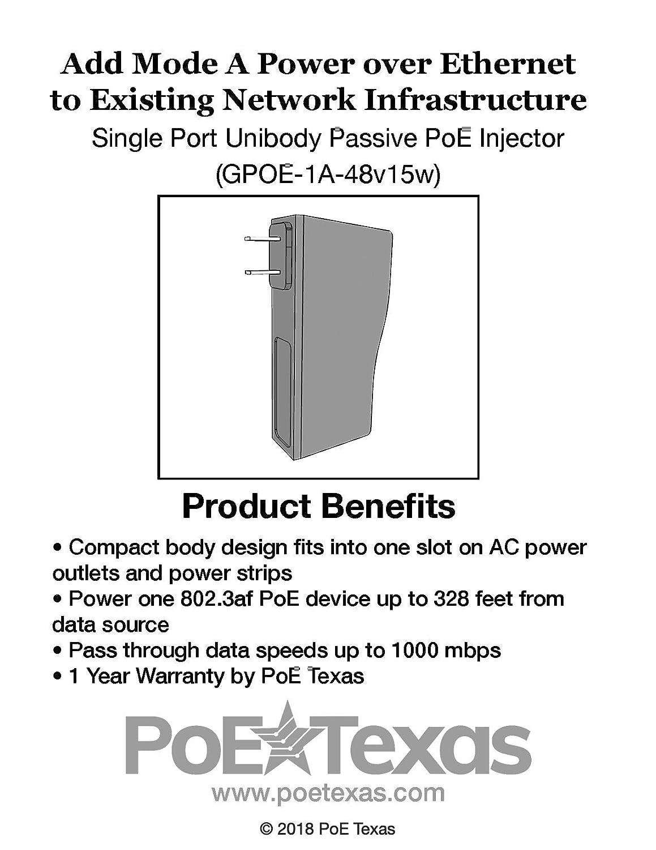 GPOE-1B-48V15W Gigabit Single Port PoE Injector POE TEXAS WT