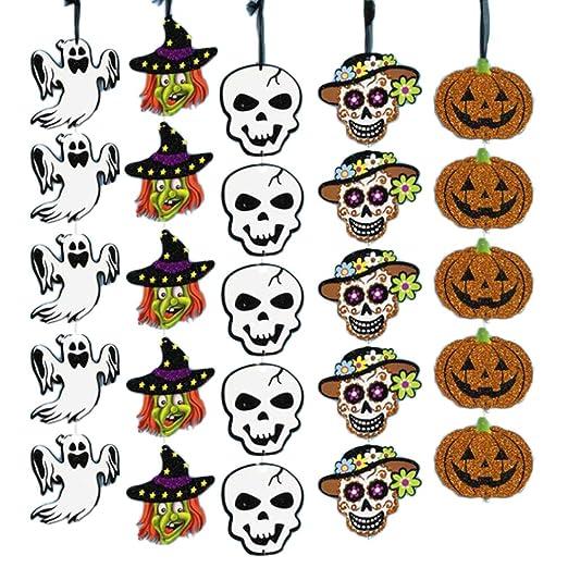 Yardwe 5 unids/pack halloween colgante colgante adorno calabaza calavera bruja decoración para home bar festival ...
