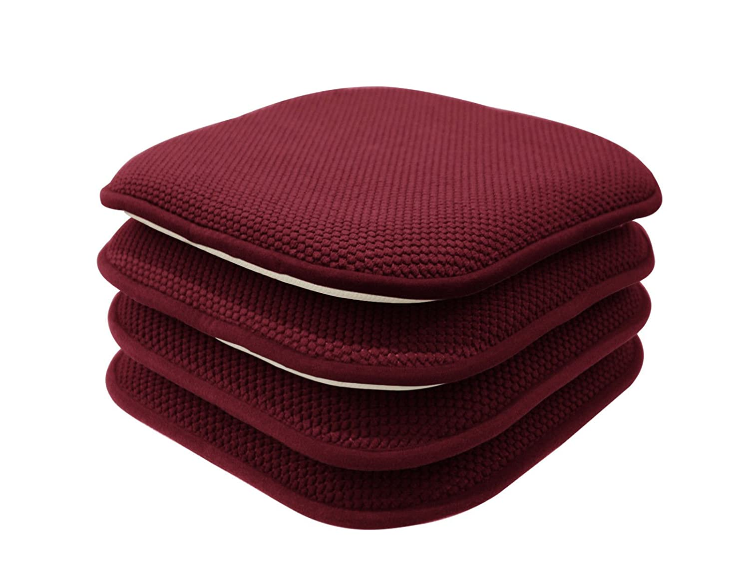 GoodGram 4 Pack Non Slip Ultra Soft Chenille Honeycomb Premium Comfort Memory Foam Chair Pads/Cushions - Assorted Colors (Country Burgundy)