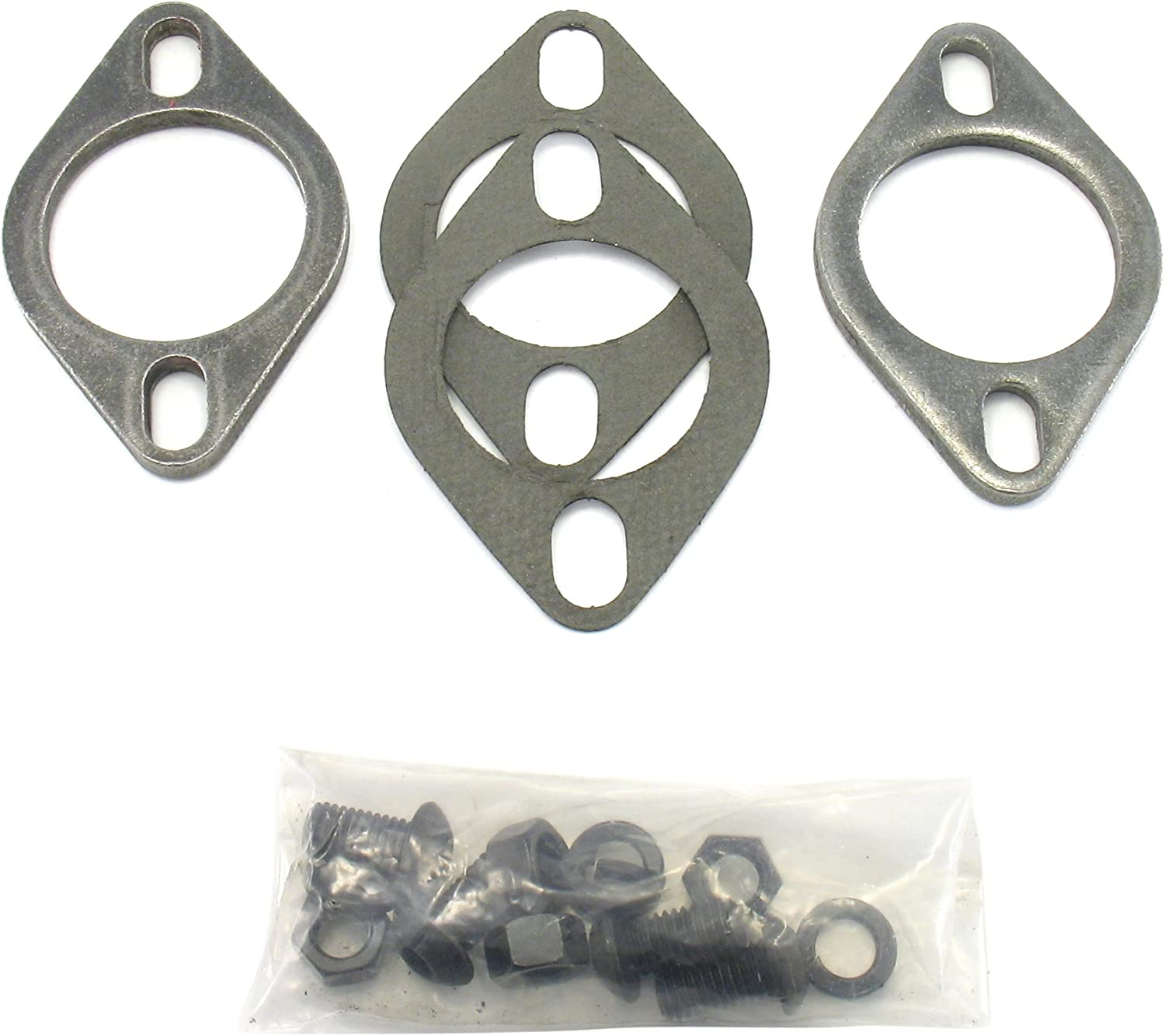 "3/"" OD  Exhaust 2 Holes 1//2/"" Stainless Steel Collector FLANGE  w// Aluminum Gasket"