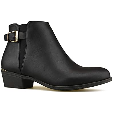 7285f1a8e Premier Standard - Women's Elastic Side Panel Ankle Bootie - Buckle Closed  Toe Bootie- Low