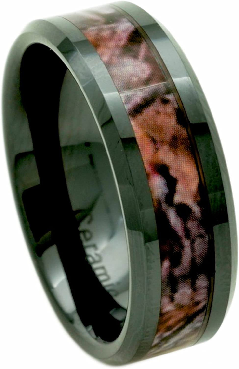 PCH Jewelers Camo Wood Ring Black Ceramic Men's 8mm Wedding Band|Gift