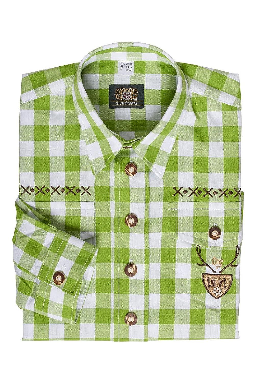 OS-Trachten Jungen Kinderhemd hellgrün kariert Dustin 140915