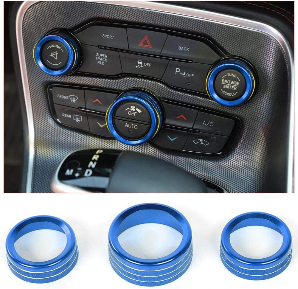 Aluminum Alloy Blue Voodonala for Challenger Charger Air Conditioner Switch CD Button Knob for Dodge Challenger Charger 2015-2019