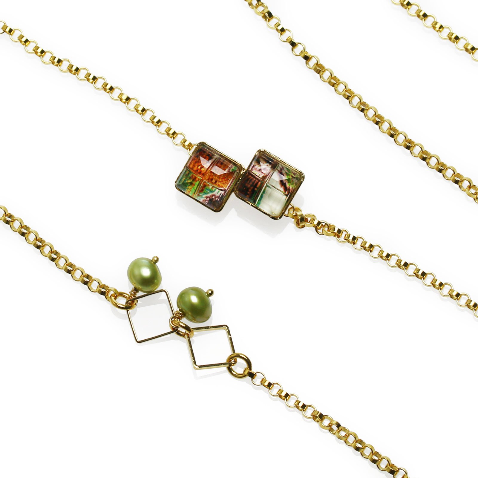 Tamarusan Glasses Chain Freshwater Pearl Gold Pansy Golden Square by TAMARUSAN