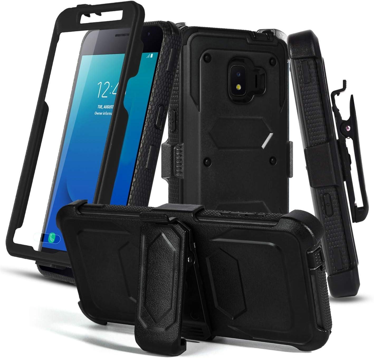 Aetech Phone Case for Samsung Galaxy J2/ J2 Core/J2 Pure/ J2 Dash / J2 Shine with Belt Clip Screen Protector Kickstand Heavy Duty for Women Men, Black