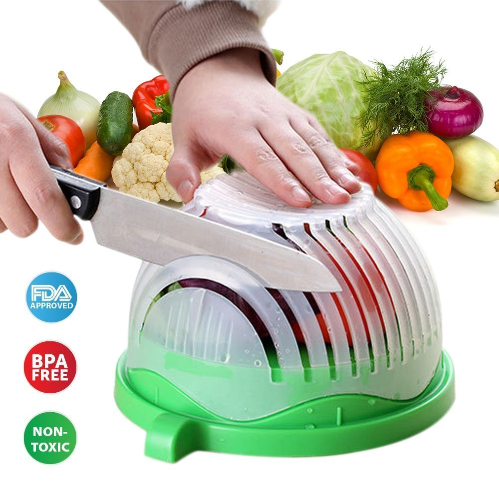 Salad Cutter Bowl, 60 Second Salad Maker by Fresh Goods | Vegetable Fruit Salad Maker, Fast Fresh Salad Chopper | Save Time & Money While Making Any Salad in 60 Seconds or Less, for Less!