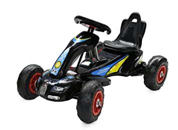 12W Battery Powered Ride on Go Kart for kids with Air Wheels LED Light Foot  Brake (S1288 BLACK)