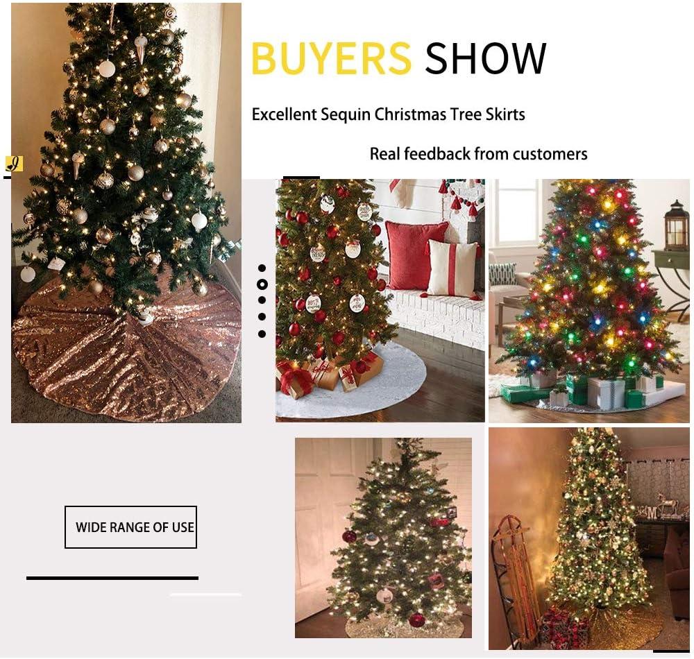 Tree Skirts Home Kitchen B Cool Christmas Tree Skirts Festivel Tree Mats Glitter Fabric Christmas Tree Skirting Holiday Tree Ornaments Rose Gold 24inches