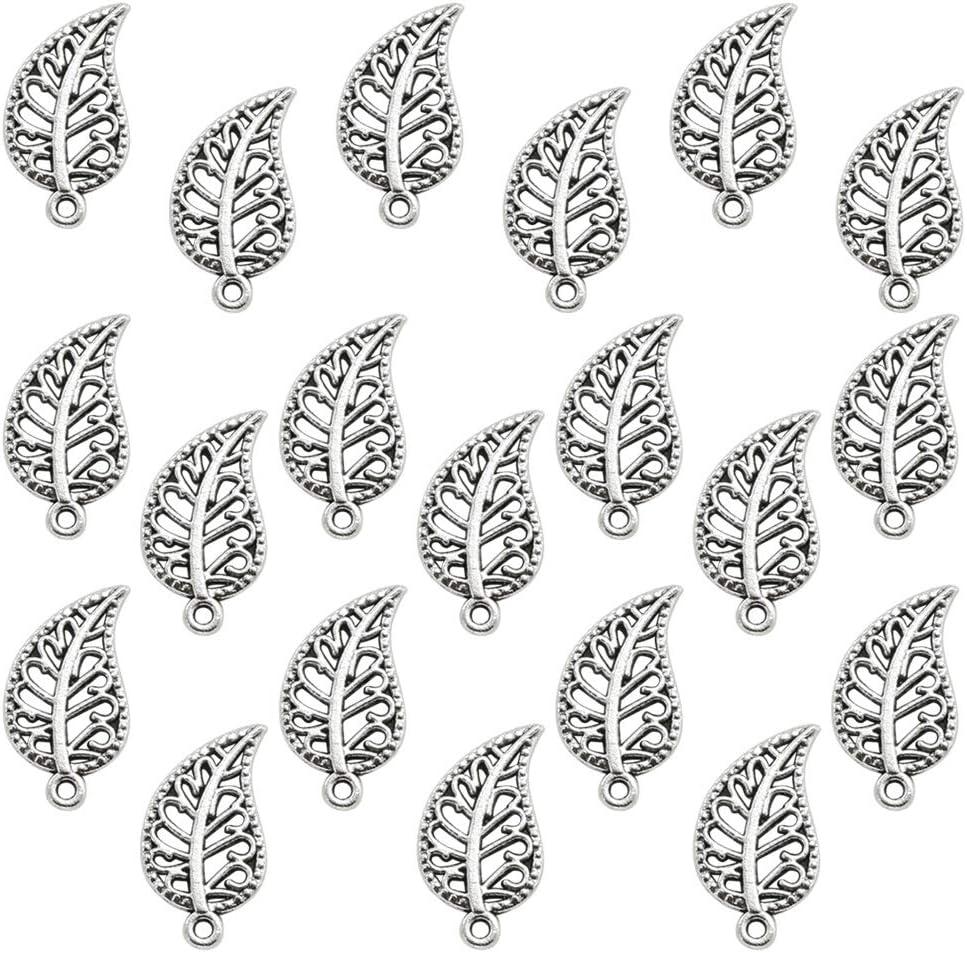 FENICAL 20pcs Mignons Breloques Feuilles Forme Bricolage Accessoires Faits /à la Main Collier pendentifs Fabrication de Bijoux Fournitures pour faveurs de f/ête de Mariage d/écorations Argent Antique