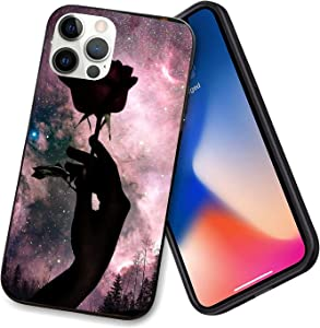 Compatible with iPhone 12 Series Case Black Rose Moon for iPhone 12 Pro Max 6.7inch (2021)