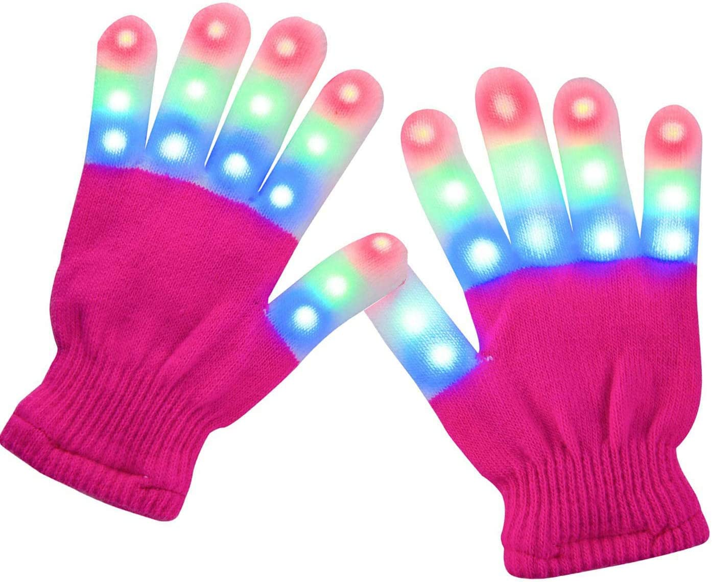 Batlofty LED Gloves for Kids, LED Light Gloves Light Up Finger Lights Gloves 3 Colors 6 Light Modes Colorful LED Rave Gloves for Kids with Extra Batteries (Children+Pink)