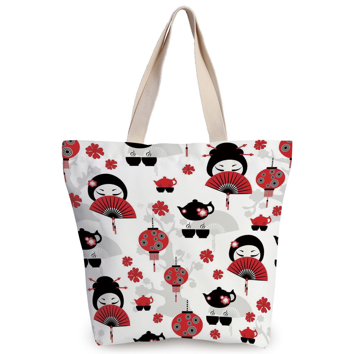 d940118863 Unique Durable Canvas Tote Bag,Lantern,Geisha Japanese Fan Ancient Chinese  Traditional Tea Pot Lanterns Floral Graphic Design Decorative,Black Red, Canvas ...
